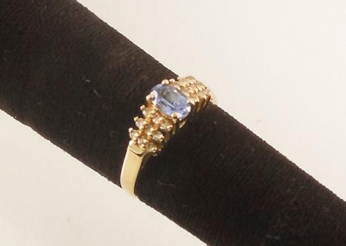 Blue Stone Lady's Stone & Diamond Ring 18 Diamonds .36 Carat T.W.