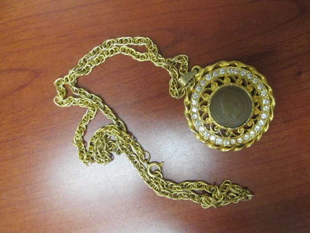 U.S. 1899 INDIAN HEAD GOLD-PLATED PENDANT & CHAIN
