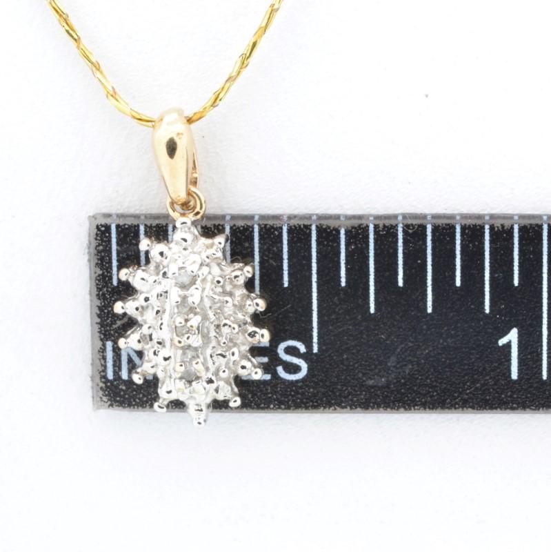 ESTATE DIAMOND CLUSTER PENDANT CHARM SOLID 10K GOLD FINE BURST 1.2g