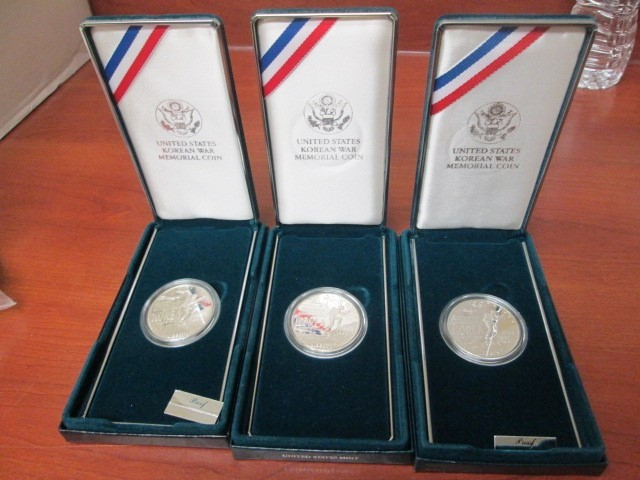 3 US COMMEMORATIVE KOREAN WAR MEMORIAL COIN PROOFS
