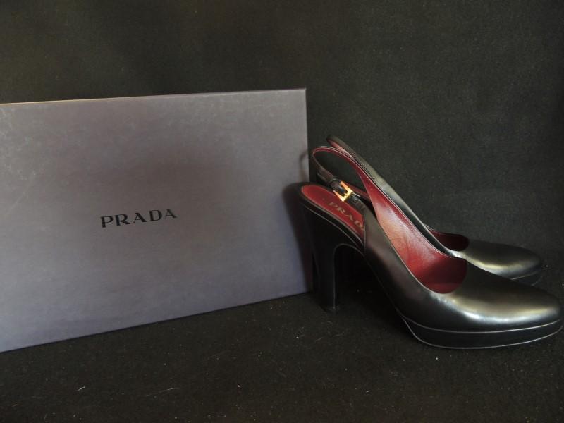 PRADA HEELS BLACK LEATHER PLATFORM PUMP SLINGBLACK AUTHENTIC SZ 37.5