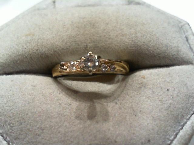 Lady's Diamond Engagement Ring 5 Diamonds 0.24 Carat T.W. 14K Yellow Gold 2g Siz