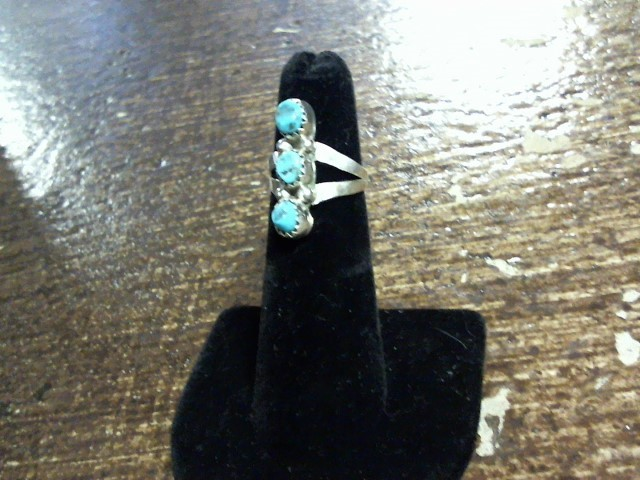 Turquoise Lady's Silver & Stone Ring 925 Silver 2dwt Size:4