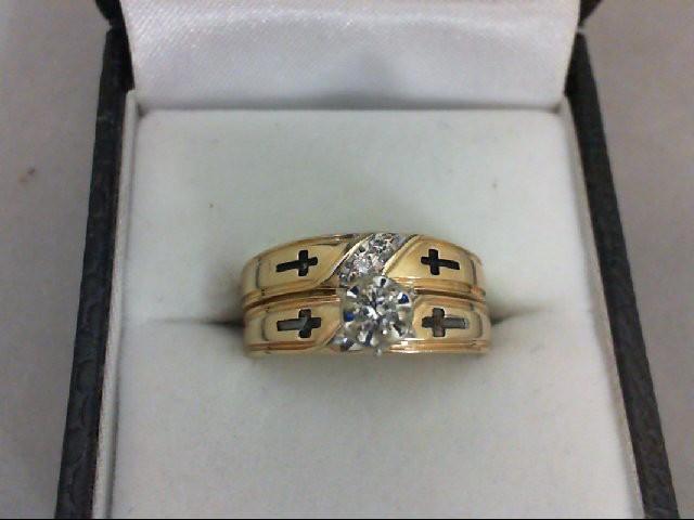 Lady's Diamond Wedding Set 3 Diamonds 0.1 Carat T.W. 14K Yellow Gold 6.3g