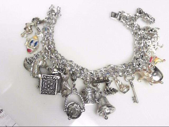Multi Charm Bracelet Sterling Silver 89.88g
