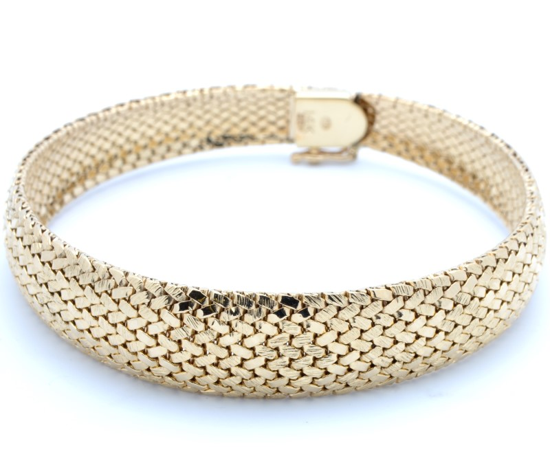 ESTATE BANGLE BRACELET SOLID 14K GOLD FLEXIBLE MESH OPEN HEAVY 30.3g