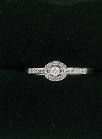 Lady's Diamond Engagement Ring 17 Diamonds .26 Carat T.W. 10K White Gold 1.2dwt