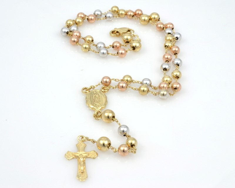 SOLID 14K GOLD ROSARY TRI COLOR CATHOLIC BEAD MARY 4 DECADE 16.5""