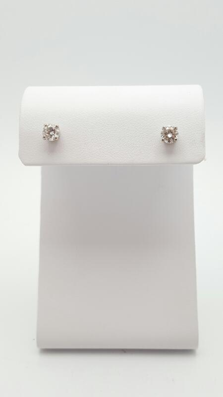 Gold-Diamond Earrings 2 Diamonds .76 Carat T.W. 14K White Gold 1g
