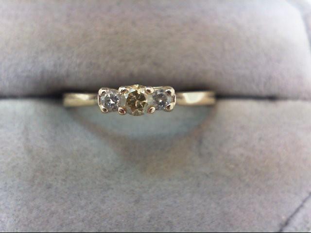 Lady's Diamond Engagement Ring 3 Diamonds .22 Carat T.W. 14K Yellow Gold 1.7g