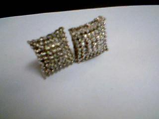 Silver-Diamond Earrings 6 Diamonds .12 Carat T.W. 925 Silver 5g