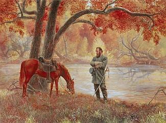 """Mort Kunstler Framed Matted Print """"Crossover The River"""" Civil War Print"""