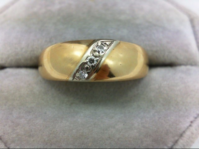 Gent's Gold-Diamond Wedding Band 3 Diamonds 0.03 Carat T.W. 14K Yellow Gold 5.1g