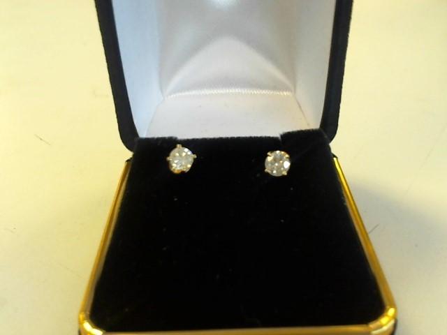 Gold-Diamond Earrings 2 Diamonds .54 Carat T.W. 14K Yellow Gold 0.5dwt