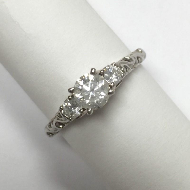 Lady's Diamond Engagement Ring 3 Diamonds 1.00 Carat T.W. 14K White Gold 2.3dwt