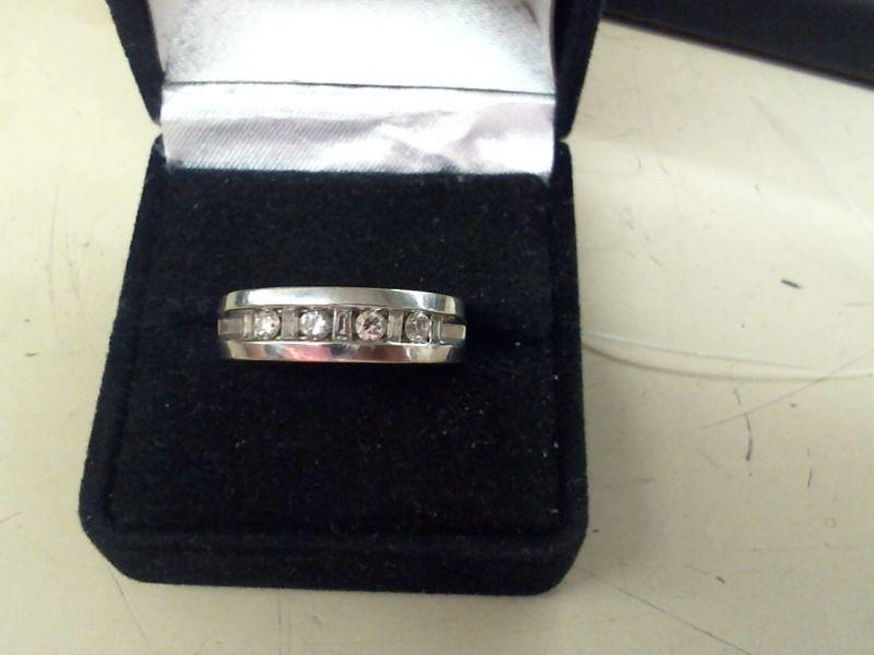 Gent's Gold-Diamond Wedding Band 9 Diamonds .57 Carat T.W. 14K White Gold 6.8g