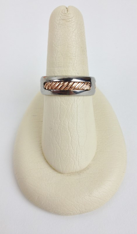 David Yurman Titanium 18kt Rose Gold 4.85g Size:9 Band