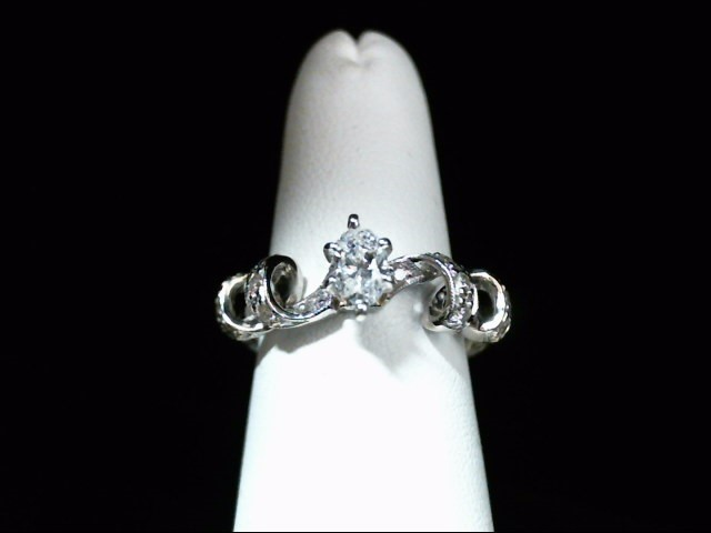 Lady's Diamond Engagement Ring 15 Diamonds .72 Carat T.W. 14K White Gold 4.3g
