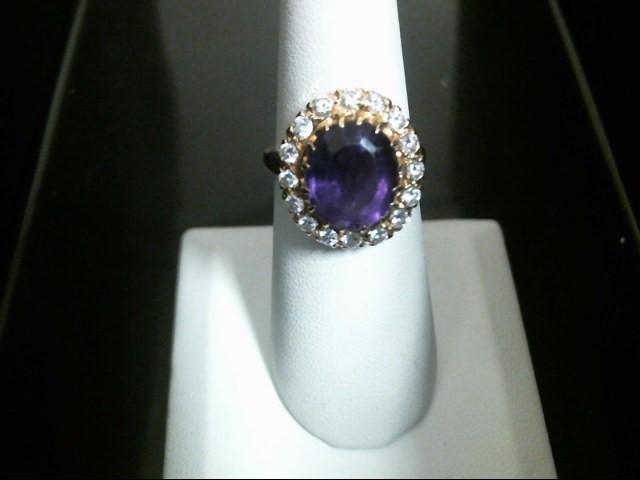 Synthetic Amethyst Lady's Stone & Diamond Ring 16 Diamonds .80 Carat T.W.