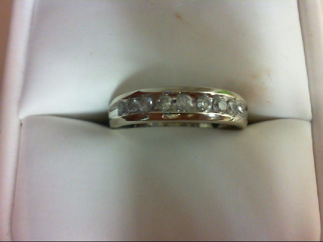 Lady's Diamond Wedding Band 9 Diamonds 0.45 Carat T.W. 10K White Gold 2.6g