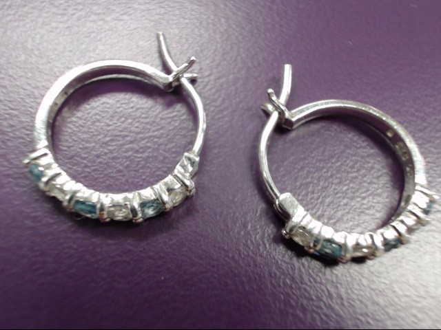 Synthetic Teal Stone Silver-Stone Earrings 925 Silver 2.4g