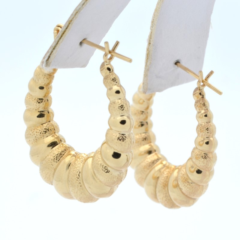 SOLID 14K YELLOW GOLD HOOP EARRINGS SCALLOP PUFF SHRIMP HOLLOW 1""