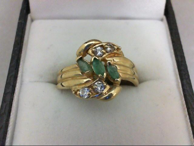 Lady's Stone & Diamond Ring 4 Diamonds 0.12 Carat T.W. 10K Yellow Gold 2.9g