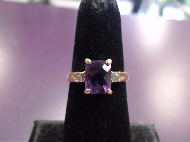 Purple Stone Lady's Stone & Diamond Ring 2 Diamonds .06 Carat T.W.