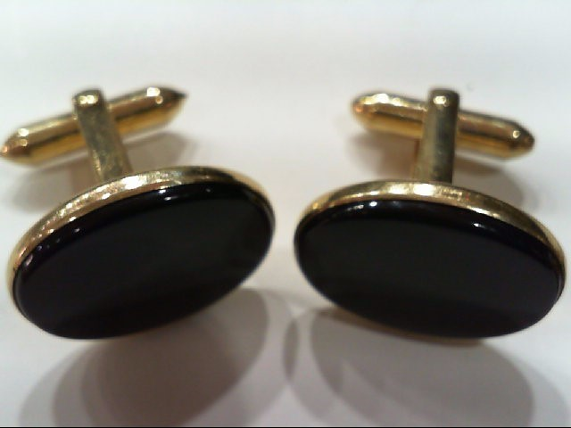 SOLID HOLD HEAVY BLACK ONYX Yellow Gold Cuff Links Tie Tac 14K Yellow Gold 10.4g