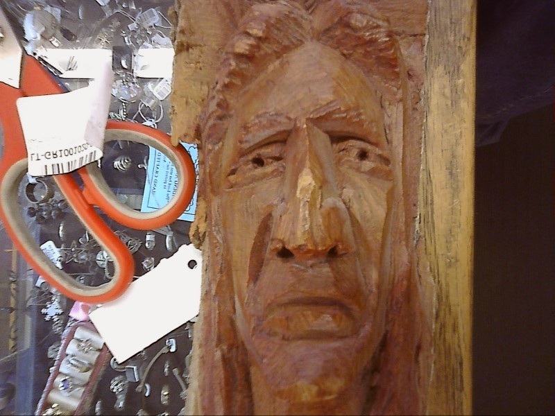 WM TAYLOR WOOD CARVING - INDIAN, DOUBLE HEAD