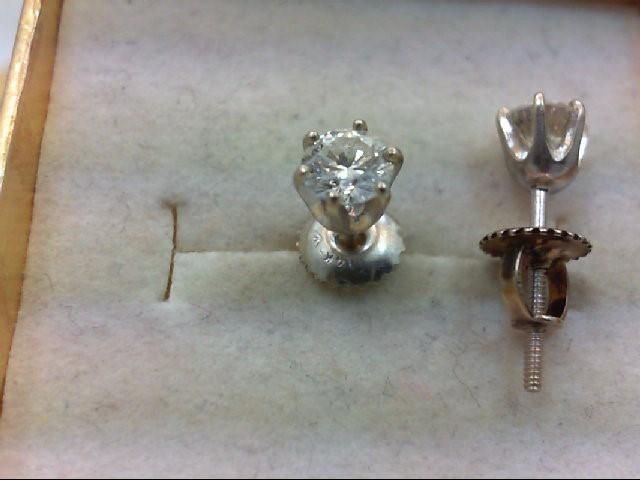 Gold-Diamond Earrings 2 Diamonds .70 Carat T.W. 14K White Gold 0.6g