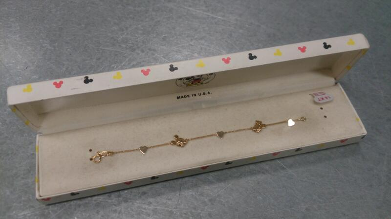 child size MICKEY & MINNY bracelet w original box 14K yg