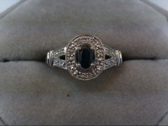 Sapphire Lady's Stone & Diamond Ring 12 Diamonds .12 Carat T.W. 10K White Gold