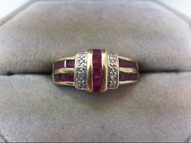 Ruby Lady's Stone & Diamond Ring 8 Diamonds .08 Carat T.W. 14K Yellow Gold 3.9g