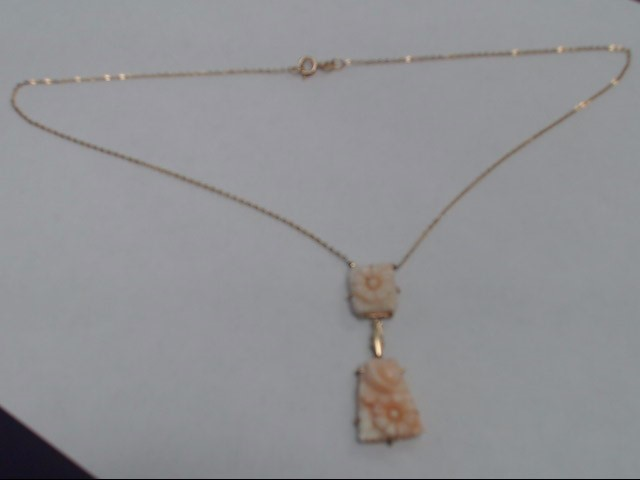 """17"""" Synthetic Coral Stone Necklace 14K Yellow Gold 6.9g"""