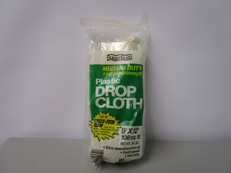 PLASTIC DROP CLOTH, 9' X 12', 1 MIL THICKNESS, COVERS UP TO 108 SQ. FT., MEDIUM