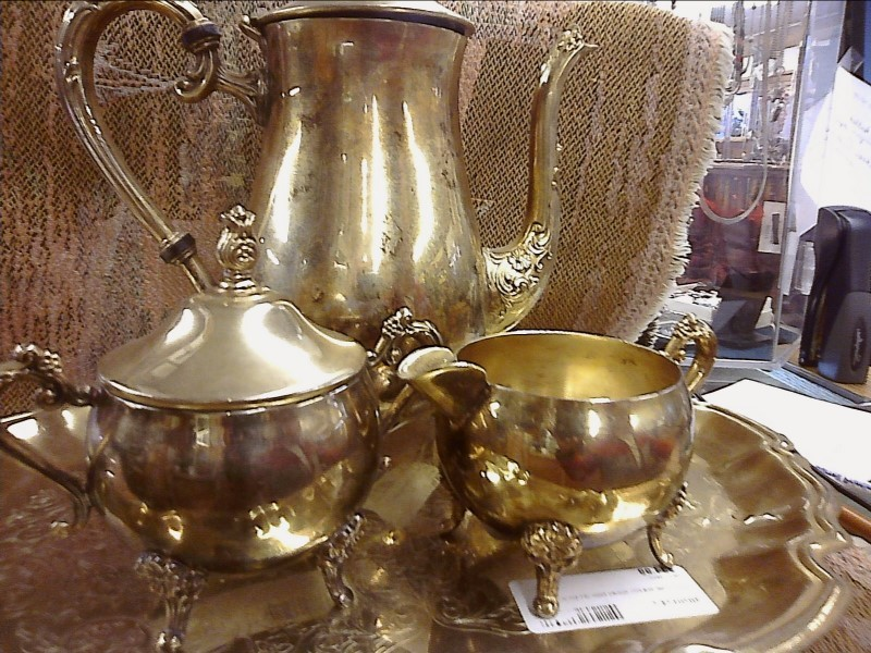 MISC HOUSEHOLD MISC USED MERCH MISC USED MERCH; GOLD TONE TEA POT SUGAR DISH CRE