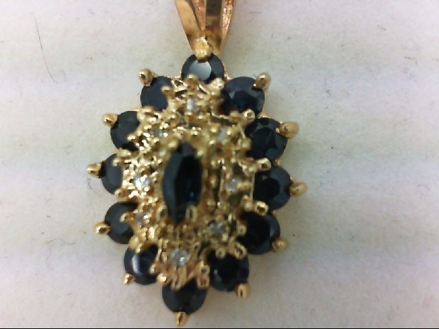 Sapphire Gold-Diamond & Stone Pendant 8 Diamonds .08 Carat T.W. 10K Yellow Gold