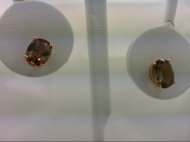 Olive Tourmaline Gold-Stone Earrings 10K Yellow Gold 1.2g