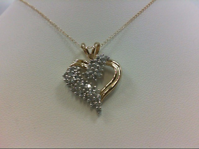 Gold-Multi-Diamond Pendant 46 Diamonds 0.92 Carat T.W. 10K Yellow Gold 3.2g