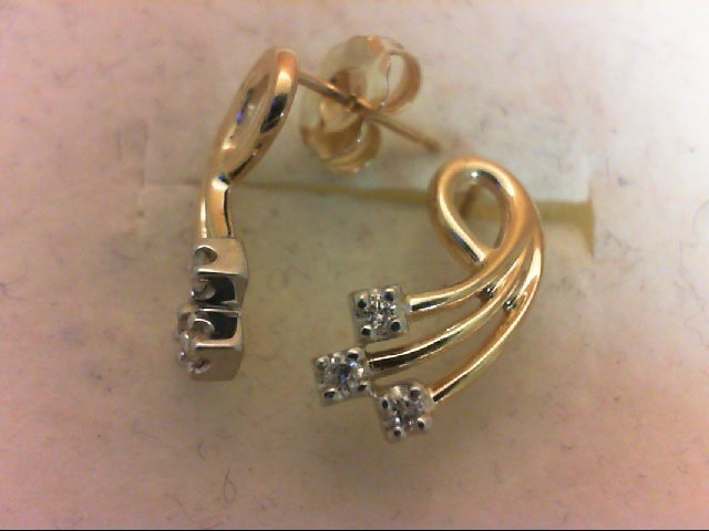 Gold-Diamond Earrings 6 Diamonds 0.12 Carat T.W. 14K Yellow Gold 1.8g