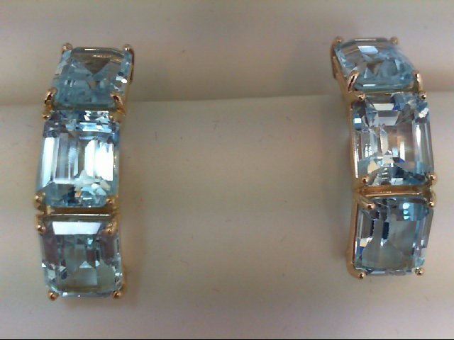 Blue Topaz Gold-Stone Earrings 14K Yellow Gold 12.5g