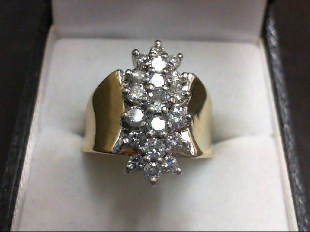 Lady's Diamond Cluster Ring 19 Diamonds 0.92 Carat T.W. 14K Yellow Gold 7.3g