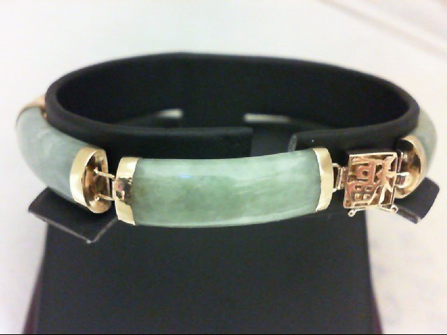 Jade Gold-Stone Bracelet 14K Yellow Gold 14.6g