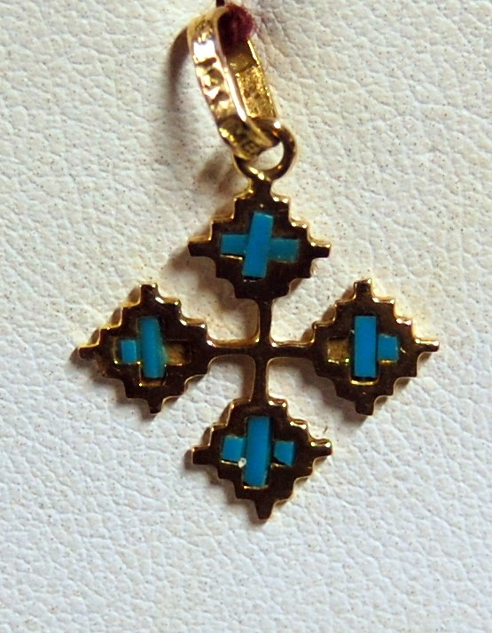 Synthetic Turquoise Gold-Stone Pendant 14K Yellow Gold 1g