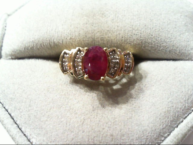 Ruby Lady's Stone Ring 10K Yellow Gold 2.3g