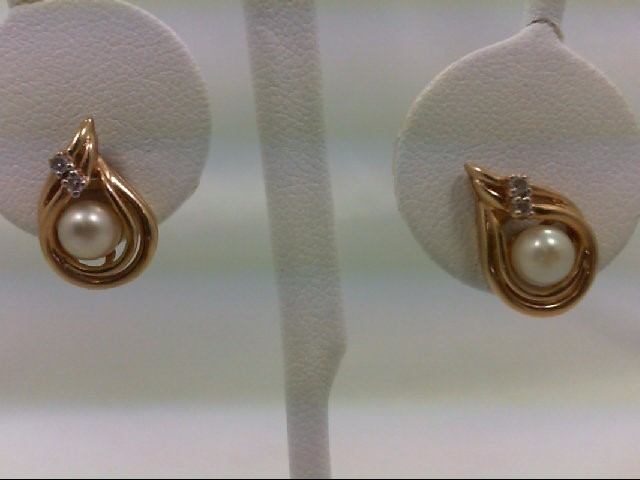 Pearl Gold-Diamond & Stone Earrings 4 Diamonds 0.04 Carat T.W. 14K Yellow Gold 3