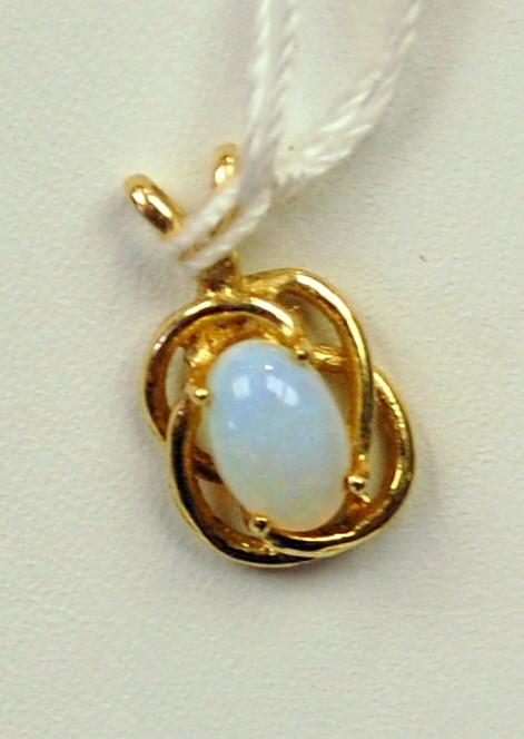 Opal Gold-Stone Pendant 14K Yellow Gold 0.6g