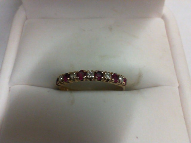 Ruby Lady's Stone & Diamond Ring 5 Diamonds 0.1 Carat T.W. 14K Yellow Gold 1.3g