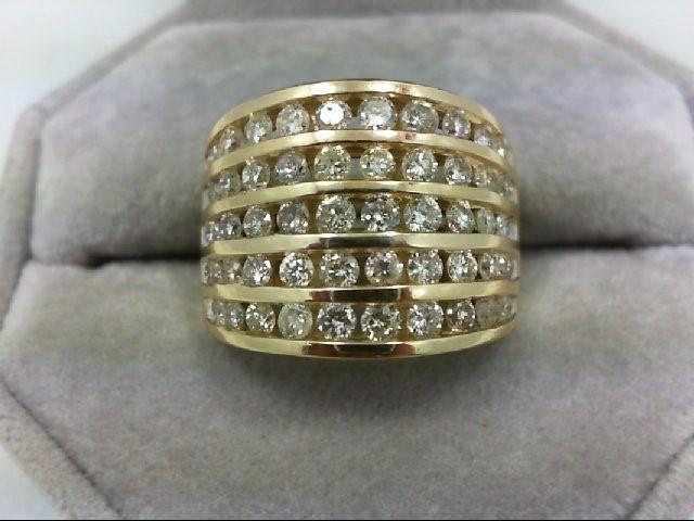Lady's Diamond Wedding Band 50 Diamonds 1.5 Carat T.W. 14K Yellow Gold 8.8g Size